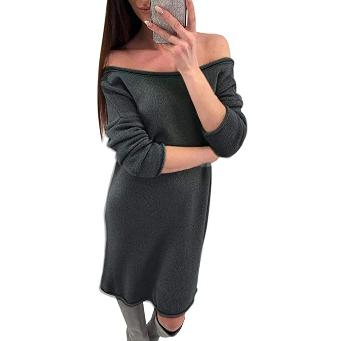Overmal Fashion Womens Solid O-Neck Sweater Casual Long Sleeve Pullove Backless Dress