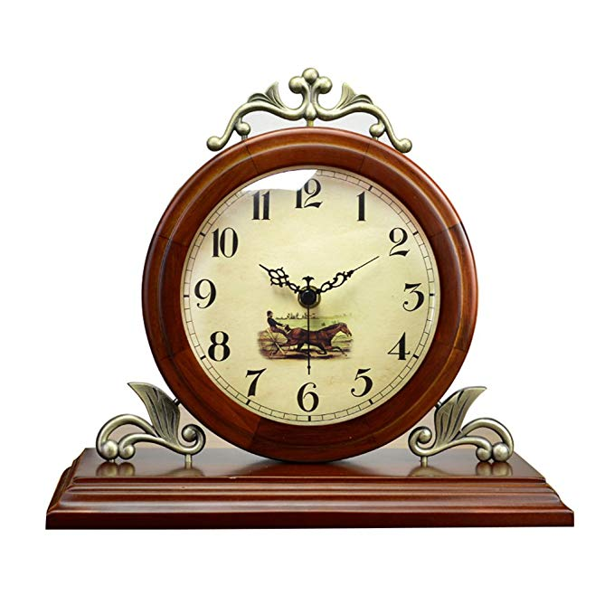 HAOFAY Retro Vintage Mantel/European Round Coffee Color Mute Quartz Clock Desk and Shelf Clock Decoration, Table Clock Table Clock