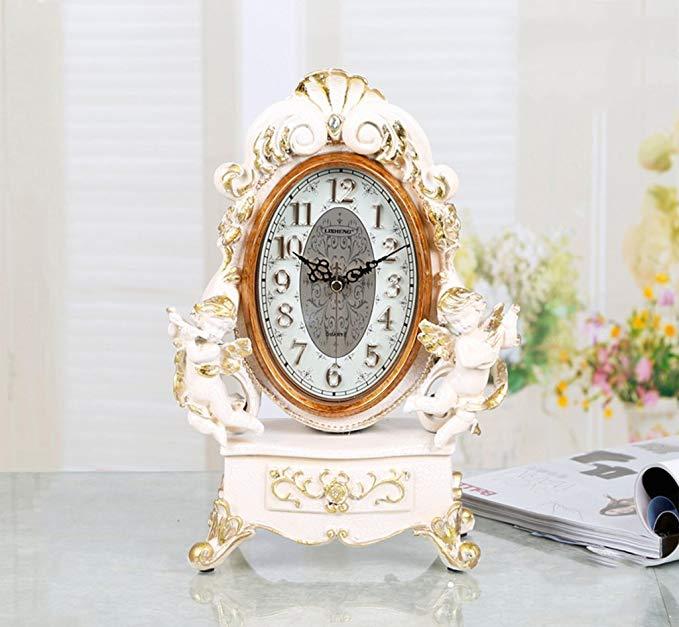 HAOFAY Retro Vintage Mantel/European Resin Light Yellow Silent Quartz Clock Desk & Shelf Clock