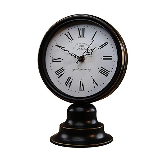 HAOFAY European Vintage Black Old Desk Clock, Living Room Quartz Clock Desk Clock and Shelf Clock Decoration