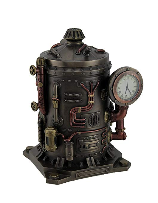 Resin Desk Clocks The Mysterious Container Steampunk Style Bronze Finished Desk Clock 4.75 X 6.5 X 4.25 Inches Bronze