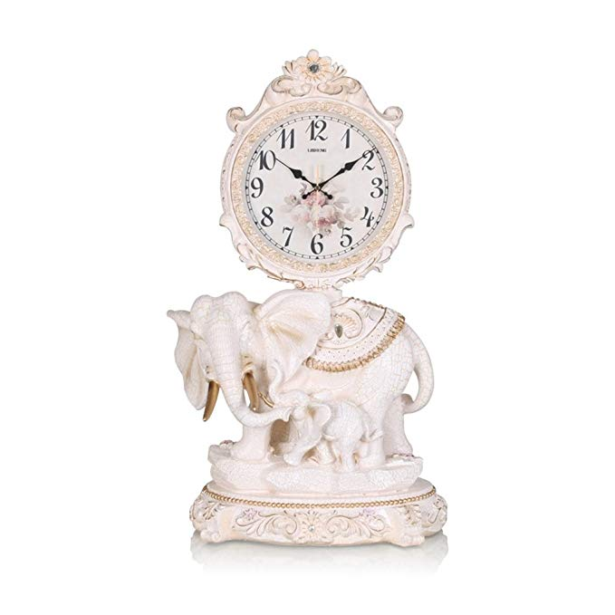 HAOFAY Retro Vintage Mantelpiece/European Resin Silent Quartz Clock Table Clock Desk Clock, Desk And Shelf Clock Decoration
