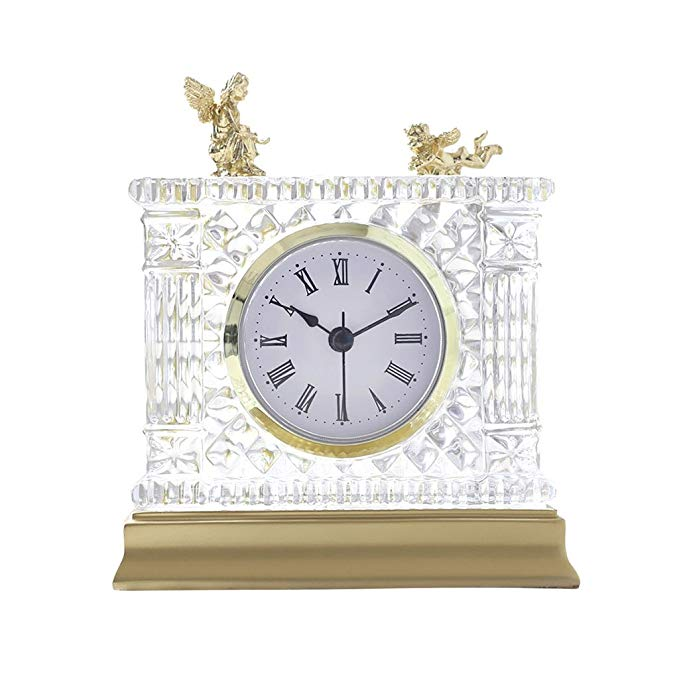 HAOFAY Retro Mantel/European Desk Clock Crystal Clear Bedroom Quartz Clock Desk & Shelf Clock
