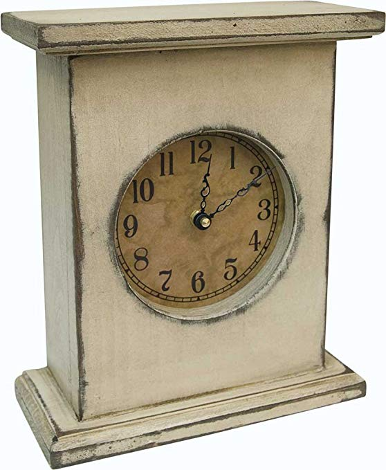 CWI Gifts Antique White Mantel Clock