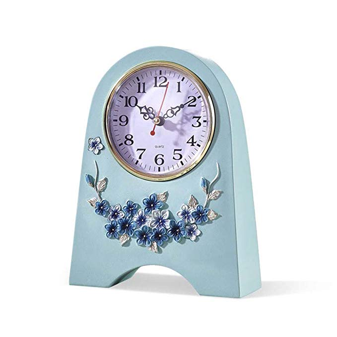 HAOFAY Retro Mantel/European Style Living Room Creative Fashion Mute Quartz Clock Desk & Shelf Clock