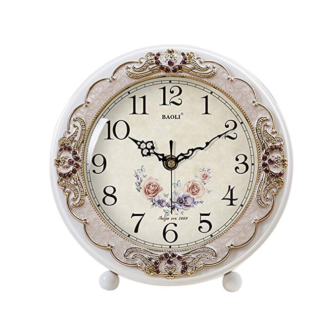 HAOFAY European Vintage White Frame Desktop Clock, Modern Living Room Fashion Desk and Shelf Clock