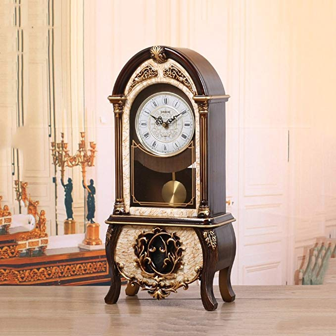 HAOFAY Desk Clock, Vintage Decor Bedroom Parlor Desktop Clock Battery Powered (Color : Timekeeping)