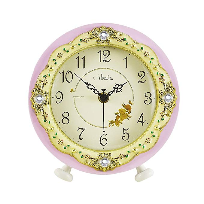 HAOFAY European Fashion Mute Desktop Clock, Creative Simple Light Purple Quartz Clock Desk and Shelf Clock