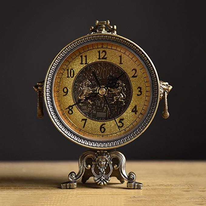 HAOFAY European Vintage Metal Antique Desktop Clock, Living Room Quartz Clock Desk Clock and Shelf Clock Decoration