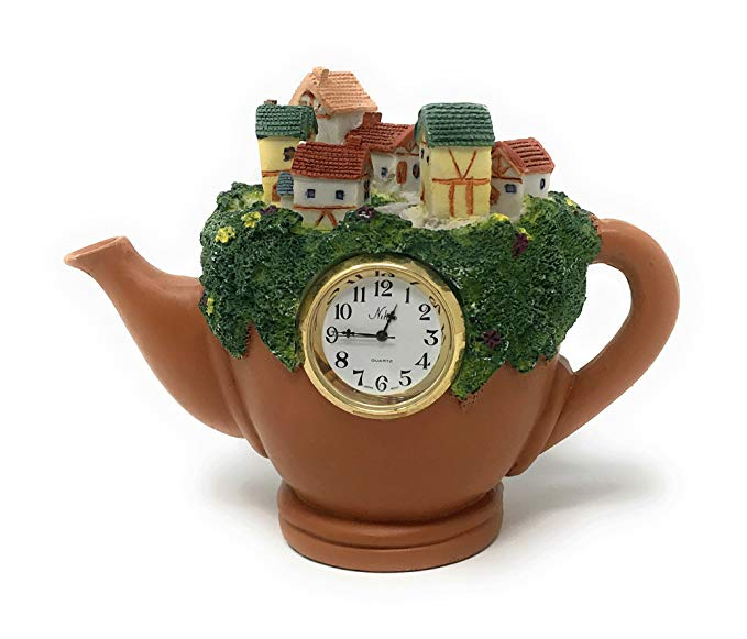 City on a Teapot Cold Cast Resin Mantel Table Clock