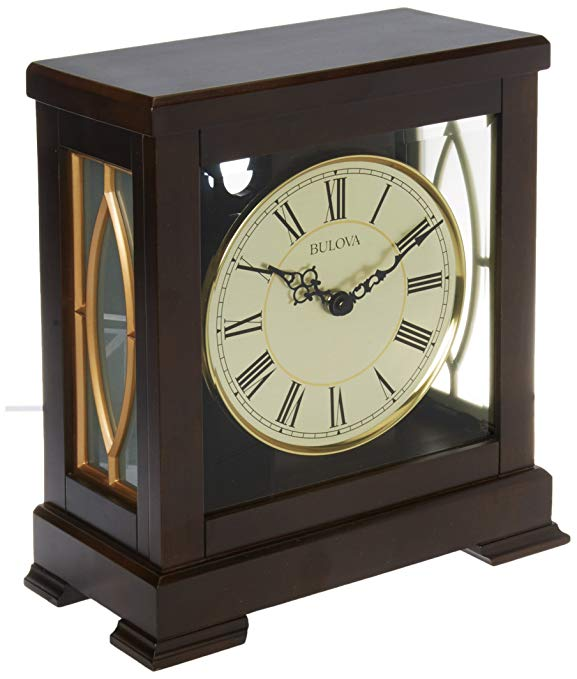 Bulova B1653 Victory Mantel Chime Clock, Brown